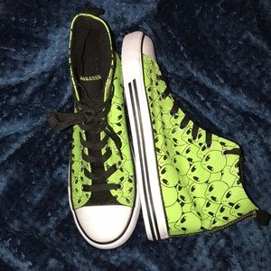 Size-10-12 high top alien sneakers